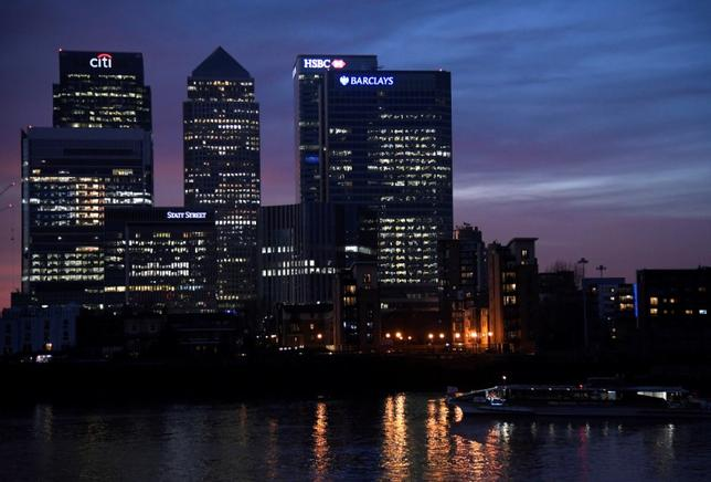 A river ferry passes in front of the Canary Wharf business district at dusk in London, Britain December 11, 2016. REUTERS/Toby Melville/Files