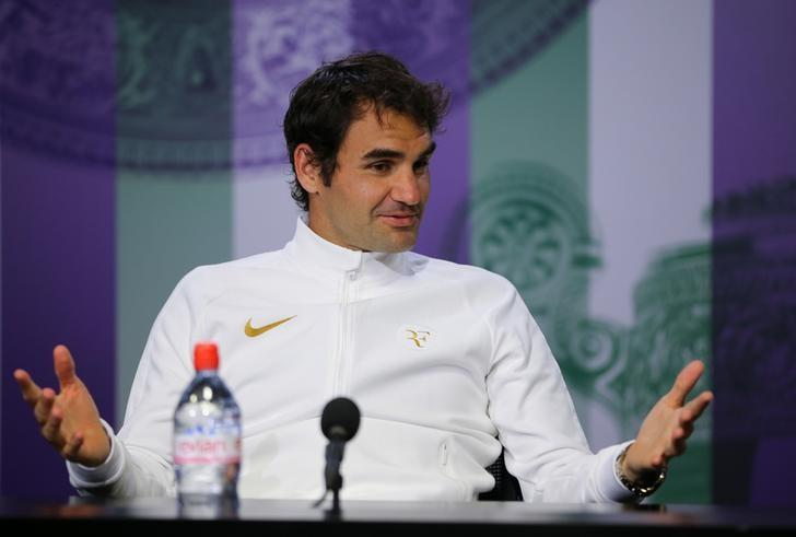 Switzerland's Roger Federer during a press conference after losing his semi final match to Canada's Milos Raonic. Wimbledon - All England Lawn Tennis & Croquet Club, Wimbledon, England - 8/7/16.  REUTERS/Gary Hershorn/Pool