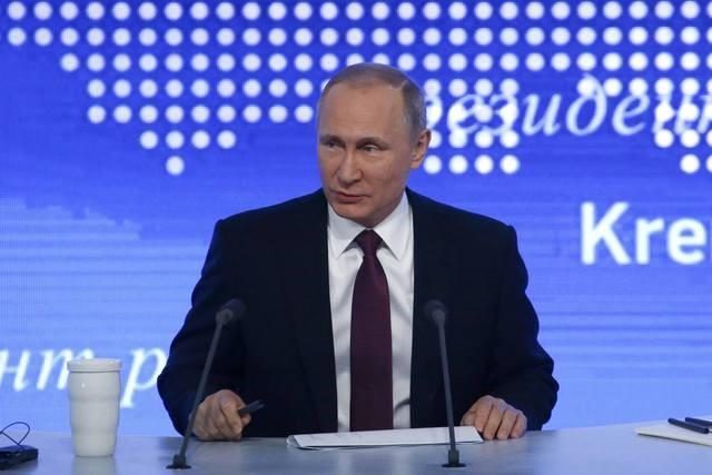 Russian President Vladimir Putin speaks during his annual end-of-year news conference in Moscow, Russia, December 23, 2016.  REUTERS/Sergei Karpukhin