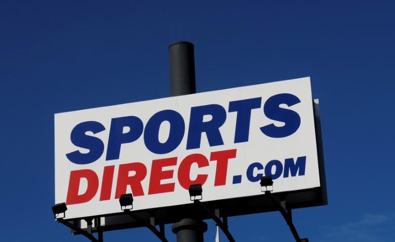 A company logo is seen outside a Sports Direct store in Vienna, Austria, April 28, 2016.  REUTERS/Leonhard Foeger