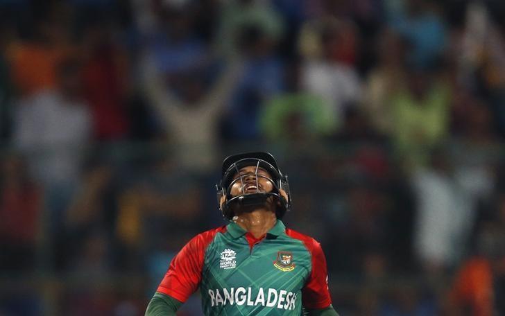 Cricket - India v Bangladesh - World Twenty20 cricket tournament - Bengaluru, India, 23/03/2016. Bangladesh's Mushfiqur Rahim reacts after his dismissal. REUTERS/Danish Siddiqui/Files