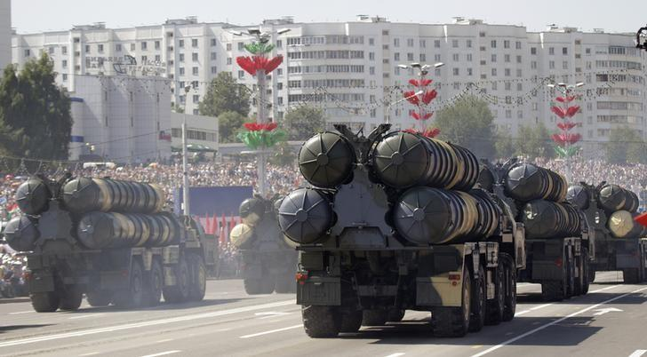 FILE PHOTO - Belarusssian S-300 mobile missile launching systems drive through a military parade during celebrations marking Independence Day in Minsk July 3, 2013.  REUTERS/Vasily Fedosenko
