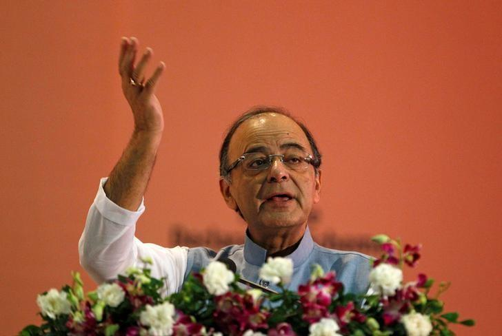 India's Finance Minister Arun Jaitley gestures as he addresses a gathering during a seminar on 'Income Declaration Scheme-2016' in Ahmedabad, July 10, 2016. REUTERS/Amit Dave/Files