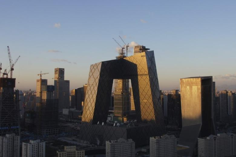 A view shows the China Central Television (CCTV) building and the Central Business District (CBD) area on a sunny day on December 2, 2015, after a fresh cold front cleared the smog that was blanketing Beijing, China. REUTERS/Stringer