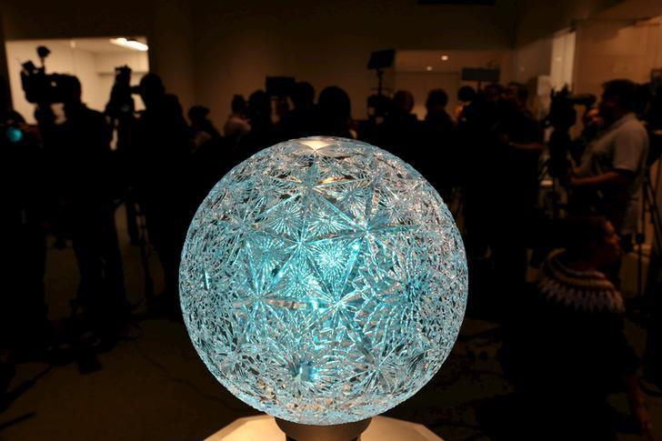 The Waterford Crystal Podium is pictured during a press conference before the installation of the Waterford Crystal triangles on the Times Square New Year's Eve Ball atop the roof of One Times Square in the Manhattan borough of New York, December 27, 2015.    REUTERS/Pearl Gabel