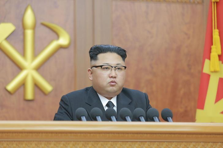 North Korean leader Kim Jong Un gives a New Year address for 2017 in this undated picture provided by KCNA in Pyongyang on January 1, 2017. KCNA/via Reuters