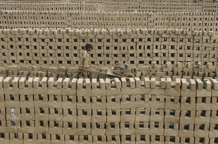 A boy transports clay using a hand cart in a brick field on the outskirts of Kolkata December 4, 2009. REUTERS/Parth Sanyal/File Photo