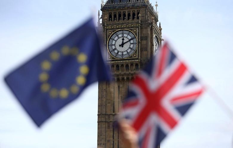 FILE PHOTO - Participants hold a British Union flag and an EU flag during a pro-EU referendum event at Parliament Square in London, Britain June 19, 2016. REUTERS/Neil Hall/File Photo