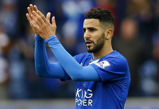 Leicester City's Riyad Mahrez applauds fans after the game aganist Swansea City in Leicester, Britain April 24, 2016 REUTERS/Darren Staples/File Photo