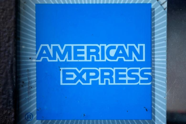 The logo of Dow Jones Industrial Average stock market index listed company American Express (AXP) is seen in Los Angeles, California, United States, April 25, 2016. REUTERS/Lucy Nicholson - RTX2E4AM