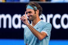 Roger Federer of Switzerland reacts during his match against Richard Gasquet of France at the Hopman Cup in Perth, Australia, January 6, 2017.    AAP/Tony McDonough/via REUTERS    ATTENTION EDITORS - THIS IMAGE WAS PROVIDED BY A THIRD PARTY. EDITORIAL USE ONLY. NO RESALES. NO ARCHIVE. AUSTRALIA OUT. NEW ZEALAND OUT.
