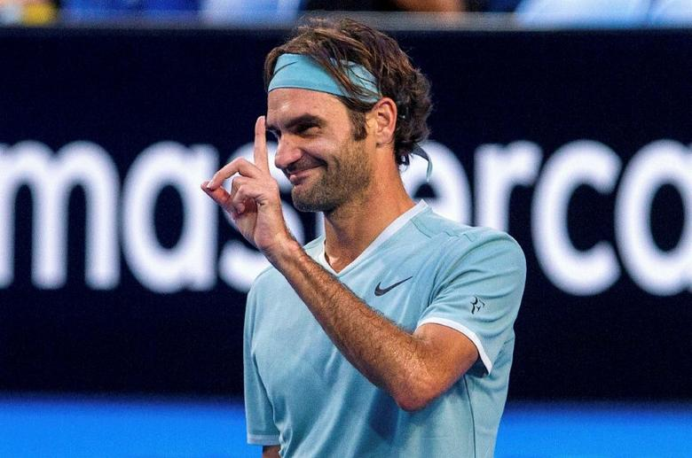 Roger Federer of Switzerland reacts during his match against Richard Gasquet of France at the Hopman Cup in Perth, Australia, January 6, 2017.    AAP/Tony McDonough/via REUTERS