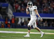 Dec 31, 2015; Arlington, TX, USA;  Connor Cook  in the 2015 CFP semifinal at the Cotton Bowl at AT&T Stadium.  Tim Heitman-USA TODAY Sports