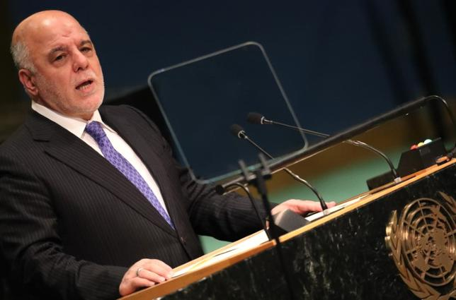 Prime Minister Haider Al-Abadi of Iraq addresses the United Nations General Assembly in the Manhattan borough of New York, U.S., September 22, 2016.  REUTERS/Carlo Allegri - RTSP0JF