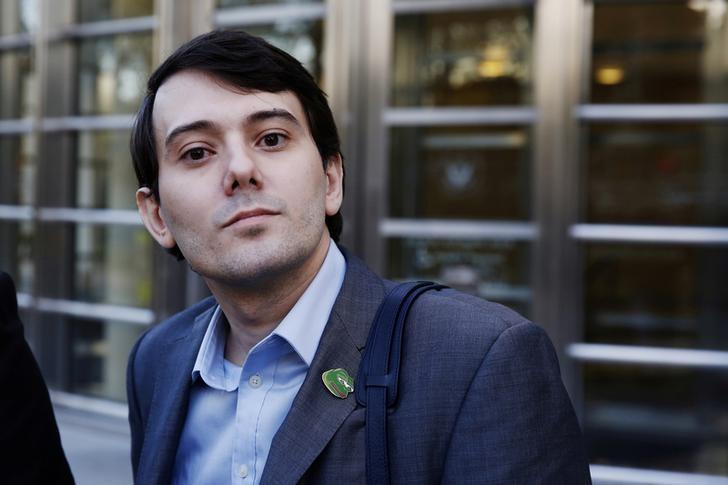 Martin Shkreli, former chief executive officer of Turing Pharmaceuticals and KaloBios Pharmaceuticals Inc, departs after a hearing at U.S. Federal Court in Brooklyn, New York, U.S. on October 14, 2016. REUTERS/Lucas Jackson/File Photo