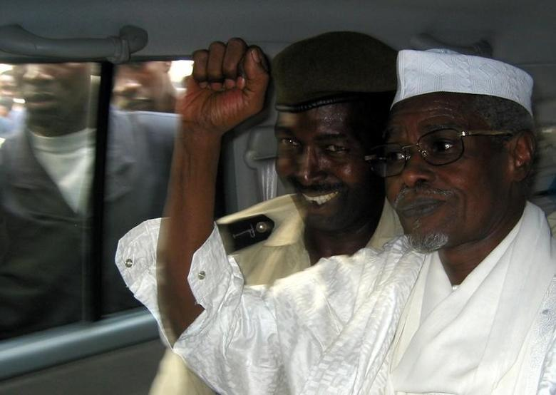 Former Chad President Hissene Habre (R)   in a file photo. REUTERS/Aliou Mbaye