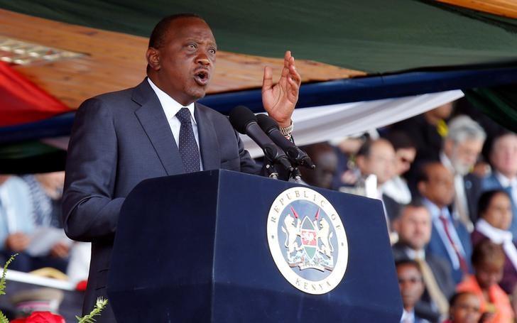 Kenya's President Uhuru Kenyatta addresses guests during the national celebration to mark Kenya's Jamhuri Day (Independence Day) at the Nyayo Stadium in Nairobi December 12, 2016. REUTERS/Thomas Mukoya