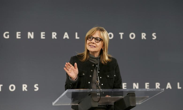 FILE PHOTO - General Motors Chairman and CEO Mary Barra announces that Chevrolet will begin testing a fleet of Bolt autonomous vehicles in Michigan during a news conference in Detroit, Michigan, U.S., December 15, 2016.  REUTERS/Rebecca Cook