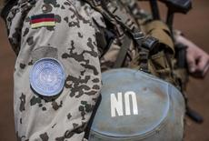 A German soldier from the UN contingent MINUSMA stands during a visit of German Defence Minister Ursula von der Leyen to Camp Castor in Gao, Mali, April 5, 2016. REUTERS/Michael Kappeler/Pool