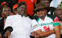 Kenyan opposition leader of the Coalition for Reforms and Democracy (CORD), Raila Odinga, and KANU Secretary General Nick Salat attend celebrations to mark Kenya's Madaraka Day, the 53rd anniversary of the country's self rule, at Uhuru Park grounds in Nairobi, Kenya, June 1, 2016. REUTERS/Thomas Mukoya