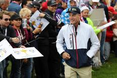 Sep 28, 2016; Chaska, MN, USA; Team USA vice-captain Jim Furyk walks to the 16th tee during the practice round for the Ryder Cup at Hazeltine National Golf Club. Mandatory Credit: Rob Schumacher-USA TODAY Sports