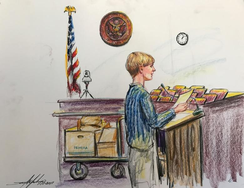Dylann Roof is shown in this courtroom sketch in Charleston, South Carolina, U.S., January 10, 2017. REUTERS/Jerry Mcjunkins