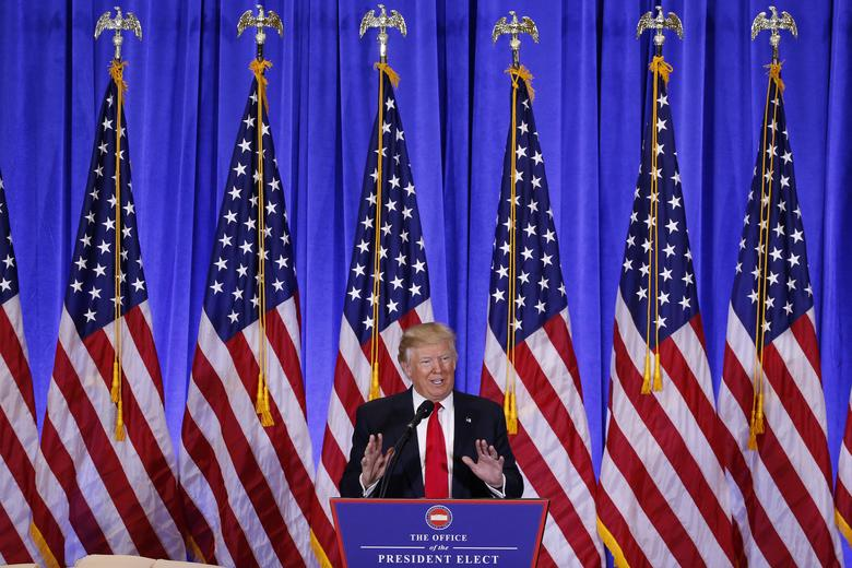 U.S. President-elect Donald Trump speaks during a news conference in the lobby of Trump Tower in Manhattan, New York City, U.S., January 11, 2017. REUTERS/Lucas Jackson