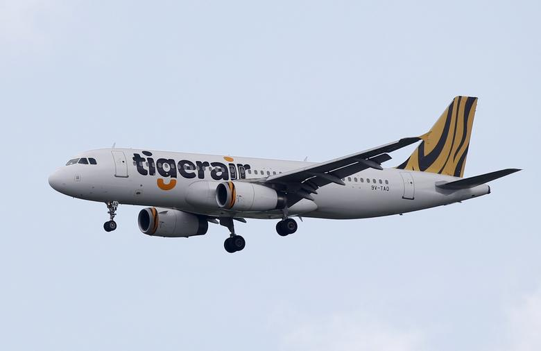 FILE PHOTO -  A Tiger Airways Airbus A320 plane approaches Singapore's Changi Airport January 5, 2016.  REUTERS/Edgar Su/File Photo