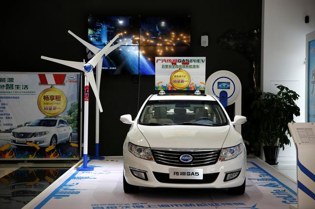 A Trumpchi GA5 hybrid electric car is displayed at an electric car dealership in Shanghai, China, January 11, 2017. REUTERS/Aly Song