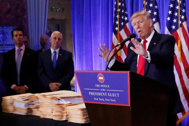 U.S. President-elect Donald Trump speaks during a news conference in Trump Tower, Manhattan, New York, U.S., January 11, 2017. REUTERS/Shannon Stapleton