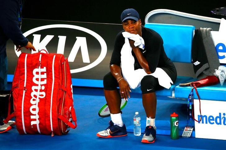 Serena Williams of the U.S. sits in a chair after finishing a training session ahead of the Australian Open tennis tournament in Melbourne, Australia, January 13, 2017.       REUTERS/David Gray