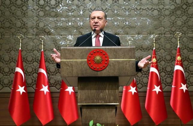 Turkey's President Tayyip Erdogan makes a speech during his meeting with mukhtars at the Presidential Palace in Ankara, Turkey, January 12, 2017. Murat Cetinmuhurdar/Presidential Palace/Handout via REUTERS