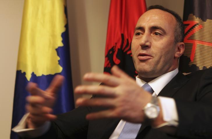 President of the Alliance for the Future of Kosovo (AAK) Ramush Haradinaj, a Kosovo Albanian former guerilla commander who served briefly as prime minister, speaks during an interview with Reuters at the AAK headquarters in Pristina December 4, 2012.  REUTERS/Hazir Reka/Files