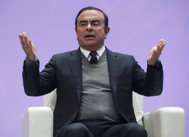 Carlos Ghosn makes a speech titled ''Autonomous, Electric and Connected: A Talk on Current and Future Mobility'' during the North American International Auto Show in Detroit, Michigan, U.S., January 9, 2017.  REUTERS/Mark Blinch