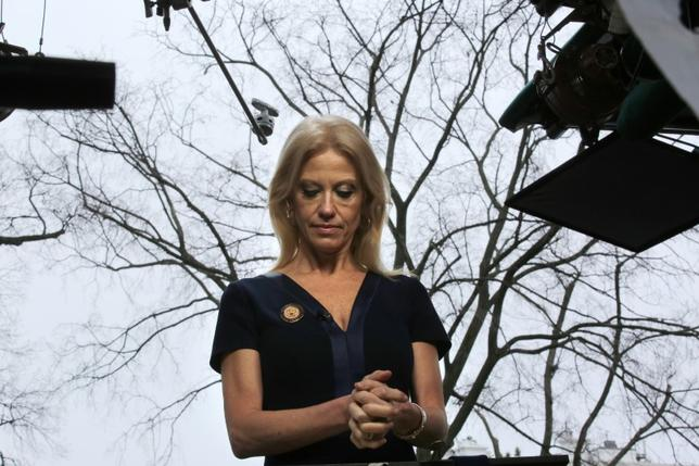 Counselor to U.S. President Donald Trump, Kellyanne Conway prepares to go on the air in front of the White House in Washington, U.S., January 22, 2017. REUTERS/Carlos Barria