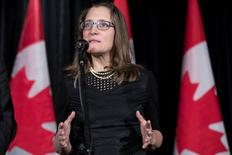 Chrystia Freeland, Minister of Foreign Affairs, speaks to the media while he and his cabinet take part in a two-day Liberal retreat in Calgary, Alberta, Canada January 24, 2017. REUTERS/Chris Bolin