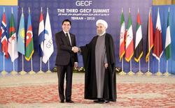 Президент Ирана Хасан Рухани жмет руку президенту Туркмении Курбанкули Бердымухаммедову во время Форума стран-экспортеров газа в Тегеране. 23 ноября 2015 года. Туркмения - крупнейший производитель природного газа в Центральной Азии, прекратившая в начале 2017 года поставки газа в Иран из-за финансового спора, готова продолжить переговоры по его урегулированию, сообщил МИД страны в четверг. REUTERS/Raheb Homavandi/TIMA