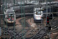 French TGV trains (high speed train) are parked at a SNCF depot station in Charenton-le-Pont near Paris, France, May 31, 2016.   REUTERS/Charles Platiau