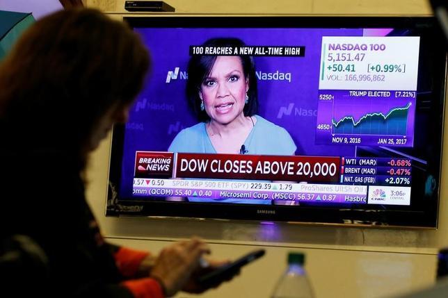 1月25日、ニューヨーク株式市場のダウ工業株30種がついに2万ドルの大台を突破した。写真は2万ドル突破を伝えるニュースを映すテレビ画面。NY市で撮影(2017年 ロイター/Brendan McDermid)