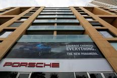 The logo of German car manufacturer Porsche is seen outside a showroom of a Porsche dealer in Beirut, Lebanon November 20, 2016. REUTERS/Jamal Saidi