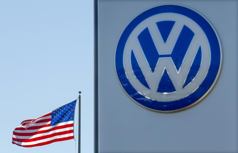FILE PHOTO: An American flag flies next to a Volkswagen car dealership in San Diego, California, U.S. September 23, 2015. REUTERS/Mike Blake/File Photo