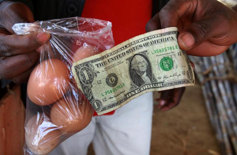 A man buy eggs using a U.S. one dollar bill at a market in Harare June 17, 2010.   REUTERS/Philimon Bulawayo/File Photo