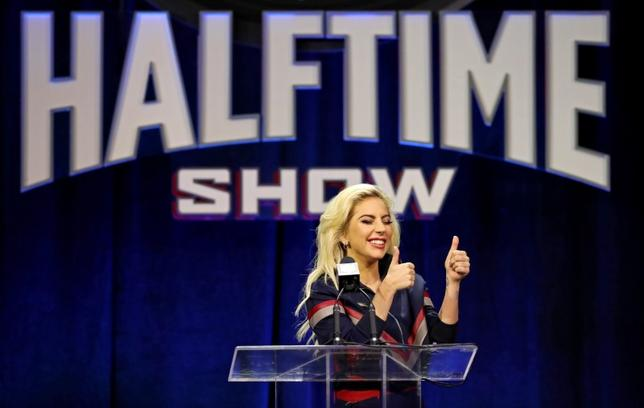 Feb 2, 2017; Houston, TX, USA; Lady Gaga speaks to the media during the Super Bowl LI halftime show press conference at Media Center. Mandatory Credit: Matthew Emmons-USA TODAY Sports