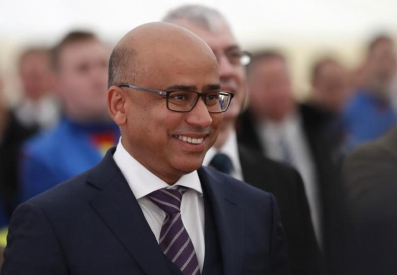 Sanjeev Gupta, executive chairman of Liberty House Group, listens to the speaker at the completion of a 330 million pound deal to buy Britain's last remaining Aluminium smelter in Fort William Lochaber Scotland, Britain December 19, 2016. REUTERS/Russell Cheyne/File Photo