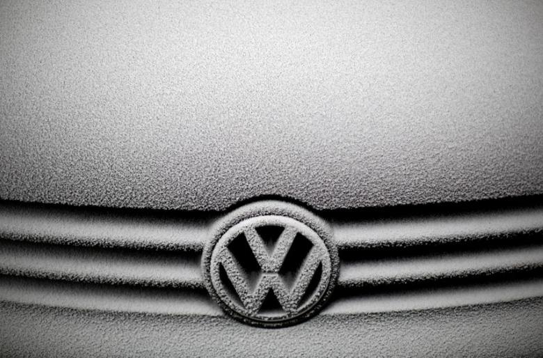 FILE PHOTO - Frost covers the grille and emblem of a Volkswagen car in Warsaw, Poland December 17, 2016. REUTERS/Kacper PempelFile Photo