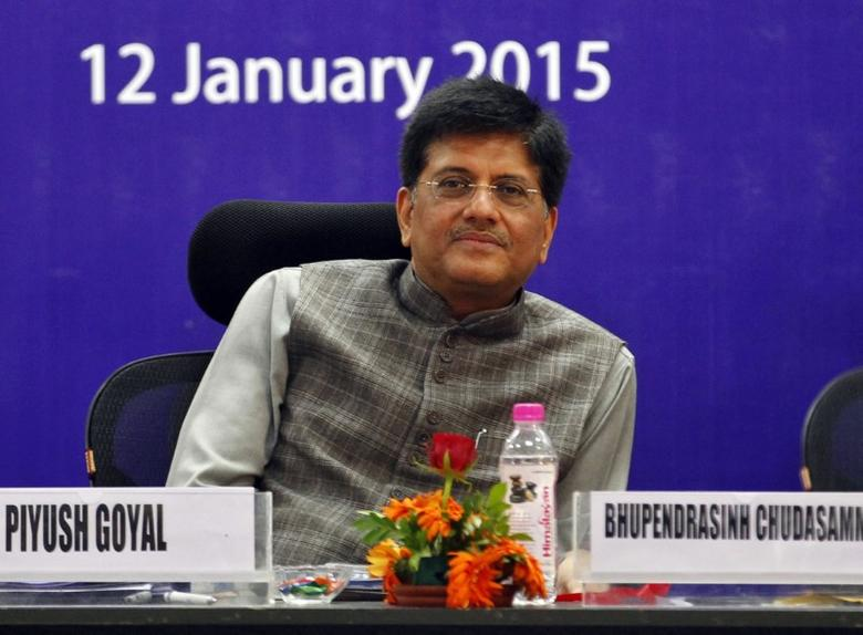 India's Power and Coal Minister Piyush Goyal attends a seminar during the second day of the Vibrant Gujarat Summit in Gandhinagar in the western Indian state of Gujarat January 12, 2015.  REUTERS/Amit Dave/Files