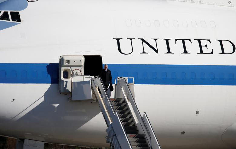 U.S. Defense Secretary Jim Mattis walks off an aircraft upon his arrival at Yokota Air Base on the outskirts of Tokyo, Japan, February 3, 2017.    REUTERS/Toru Hanai
