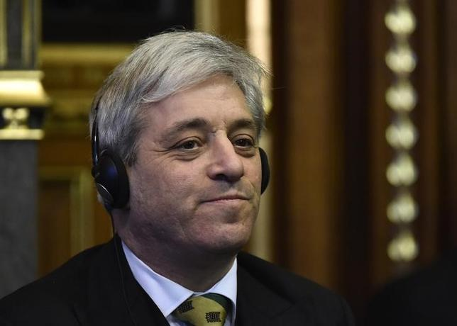 John Bercow, the Speaker of the House of Commons listens as Mexico's President Enrique Pena Nieto delivers an address to members of the British All-Party Parliamentary Group at the Houses of Parliament in London, March 3, 2015. REUTERS/Toby Melville/Files
