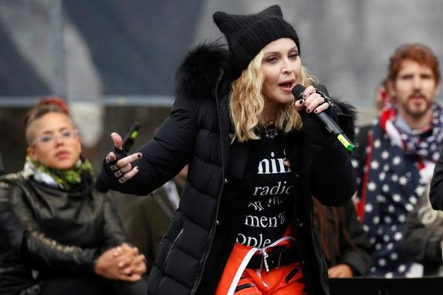 Madonna performs at the Women's March in Washington U.S., January 21, 2017. REUTERS/Shannon Stapleton/Files