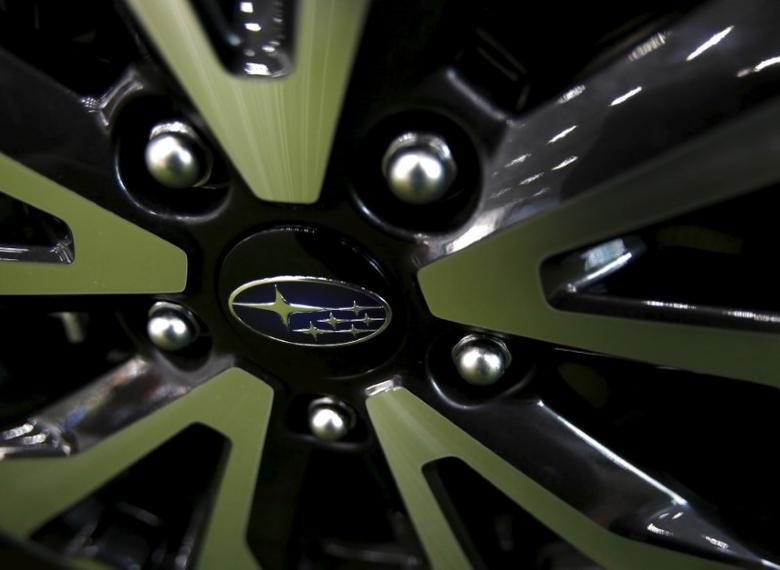 Fuji Heavy Industries Ltd (FHI)'s Subaru logo is seen on a wheel of a car displayed inside a showroom at the company's headquarters in Tokyo, Japan, July 31, 2015. REUTERS/Yuya Shino
